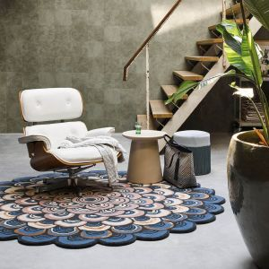 Masquerade 160008 Blue Wool Circle Rug by Ted Baker