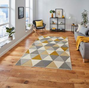 Matrix MT15 Grey Yellow Rug by Think Rugs