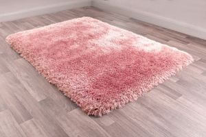 Mayfair Blush Plain Shaggy Rug by HMC