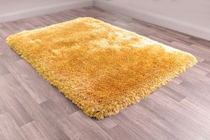 Mayfair Ochre Plain Shaggy Rug by HMC