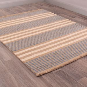 Merino Parker Stripe Blue Wool Rug by Prestige