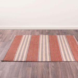 Merino Parker Stripe Orange Wool Rug by Prestige
