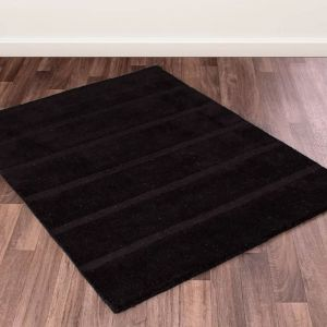Miami Black Wool Rug by Ultimate Rug