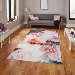 Michelle Collins FLOO24 Rose Black Rug By Think Rugs
