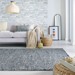 Minerals Dark Grey Plain Wool Rug by Flair Rugs