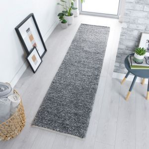 Minerals Dark Grey Plain Wool Runner by Flair Rugs