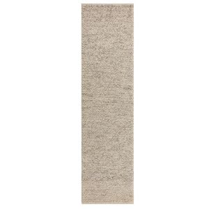 Minerals Light Grey Plain Wool Runner by Flair Rugs