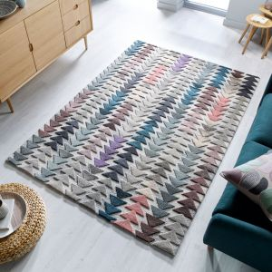 Moda Archer Multi Wool Geometric Runner by Flair Rugs