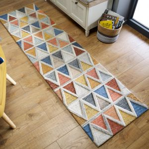 Moda Moretz Multi Wool Geometric Runner by Flair Rugs