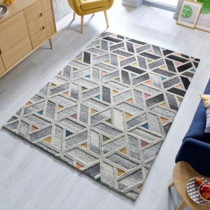 Moda River Grey Multi Wool Geometric Runner by Flair Rugs