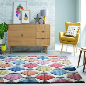 Moda Yara Multi Wool Geometric Runner by Flair Rugs
