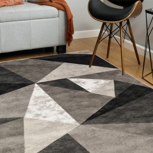 Moma Grey Black Geometric Rug by Floorita