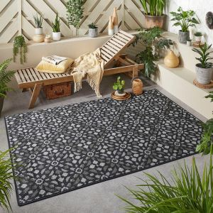 Monaco Mosaic Charcoal Grey Outdoor Rug By Oriental Weavers