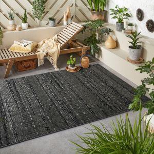 Monaco Tribal Charcoal Grey Outdoor Rug By Oriental Weavers