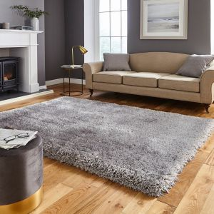 Think Rugs Montana Silver Plain Shaggy Rug