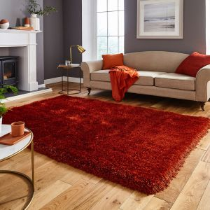 Think Rugs Montana Terracotta Plain Shaggy Rug