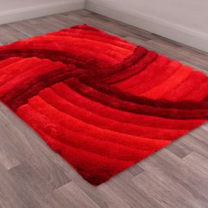 Mumbai Red Shaggy Rug by Ultimate Rug