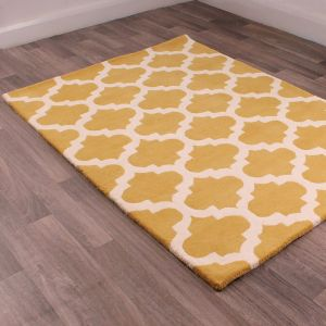 New Art Classico Gold Ivory Wool Rug by HMC