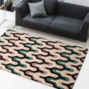 New Art Marley Green Black Wool Rug by HMC