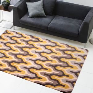 New Art Marley Grey Yellow Wool Rug by HMC