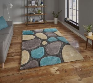 Noble House NH G1631 Silver / Blue Rug by Think Rugs