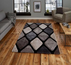 Noble House NH9247 Black / Grey Rug by Think Rugs