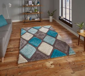Noble House NH9247 Grey / Blue Rug by Think Rugs