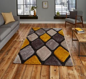 Noble House NH9247 Grey / Yellow Rug by Think Rugs