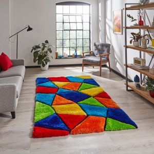 Noble House 2303 Multi Shaggy Rug by Think Rugs