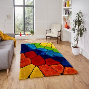Noble House 5858 Multi Shaggy Rug by Think Rugs