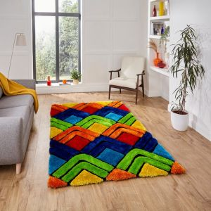 Noble House 8199 Multi Shaggy Rug by Think Rugs