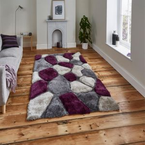Noble House NH-5858 Grey/Purple Rug by Think Rugs 1