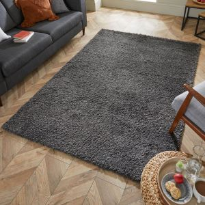 Nordic Cariboo Dark Grey Plain Shaggy Rug by Flair Rugs