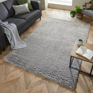 Nordic Cariboo Grey Plain Shaggy Rug by Flair Rugs