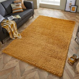 Nordic Cariboo Mustard Plain Shaggy Rug by Flair Rugs