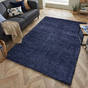 Nordic Cariboo Navy Plain Shaggy Rug by Flair Rugs