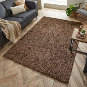 Nordic Cariboo Soft Brown Plain Shaggy Rug by Flair Rugs
