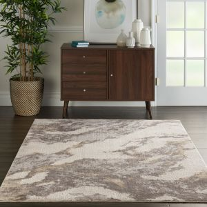 Nourison Silky Textures SLY03 Brown Ivory Rug