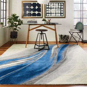 Nourison TWI28 Twilight Ivory Grey Blue Wool Rug