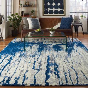 Nourison TWI29 Twilight Ivory Blue Wool Rug