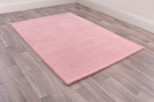 Oakland Pink Plain Wool Rug by HMC