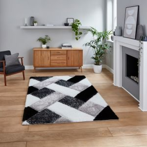 Olympia 2239 Black White Shaggy Rug by Think Rugs