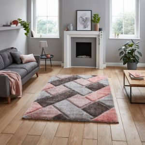 Olympia 2239 Grey Pink Shaggy Rug by Think Rugs