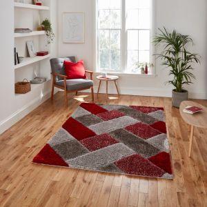 Olympia 2239 Grey Red Shaggy Rug by Think Rugs