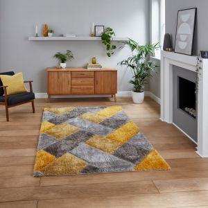 Olympia 2239 Grey Yellow Shaggy Rug by Think Rugs