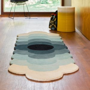 Optical Flower Teal Abstract Runner by Orla Kiely