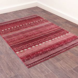 Oushak Gabbeh Red Traditional Rug by Prestige