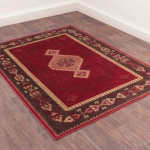 Oushak Tabriz Red Traditional Rug by Prestige