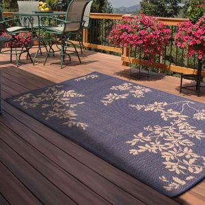 Outdoor Leaves Blue Rug by Rug Style