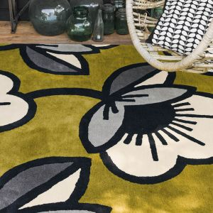 Passion Flower 059607 Olive Wool Rug by Orla Kiely